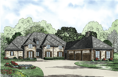 4-Bedroom, 4810 Sq Ft European Home Plan - 153-1130 - Main Exterior