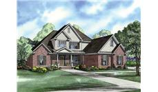 This image shows a colored rendering of these Traditional House Plans.