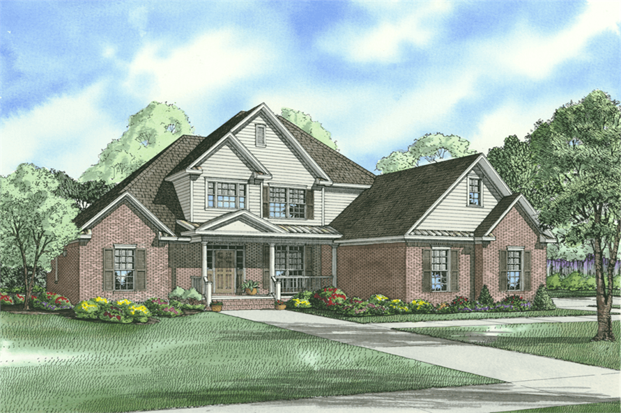 4-Bedroom, 2625 Sq Ft Country Home Plan - 153-1135 - Main Exterior