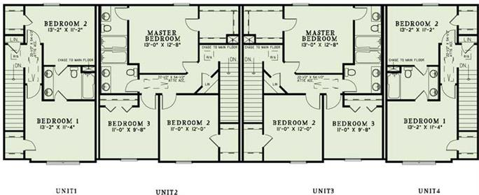 Apartment complex blueprints home design 1350 floor plan second story of multi unit plan 153 1137 malvernweather Gallery