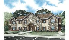 This is an artist's rendering of these Multi-Unit House Plans.