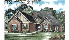 This is the front elevation for these Traditional House Plans.