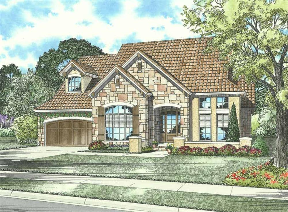 Front elevation of Tuscan home (ThePlanCollection: House Plan #153-1139)