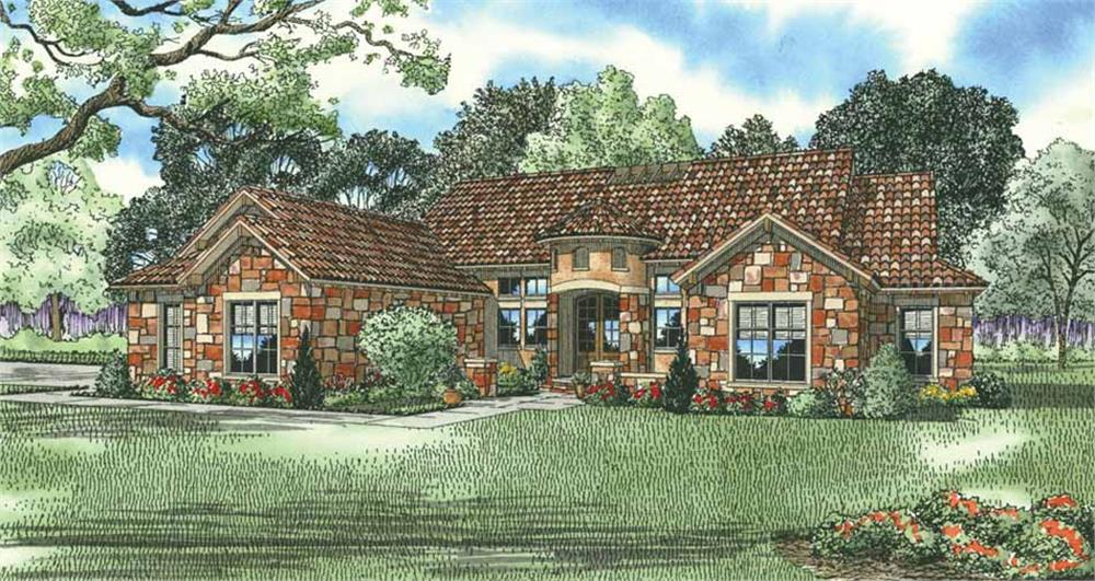 Front elevation of Tuscan home (ThePlanCollection: House Plan #153-1141)
