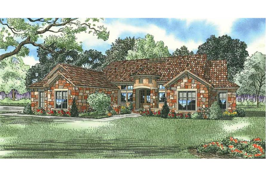 4-Bedroom, 2609 Sq Ft Tuscan House Plan - 153-1141 - Front Exterior