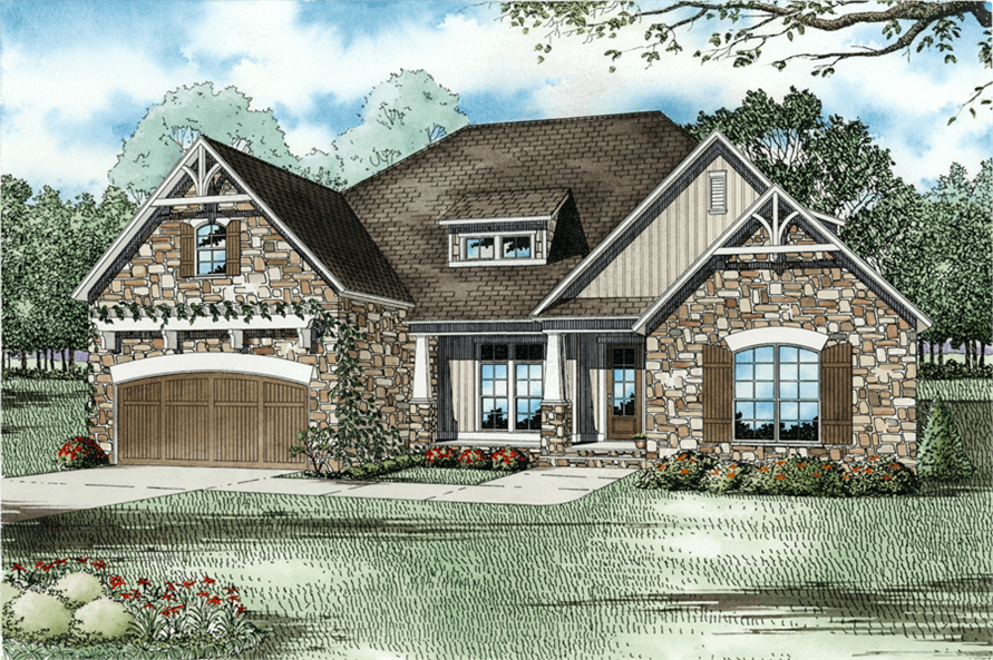 4-Bedroom, 2083 Sq Ft Southern House Plan - 153-1142 - Front Exterior