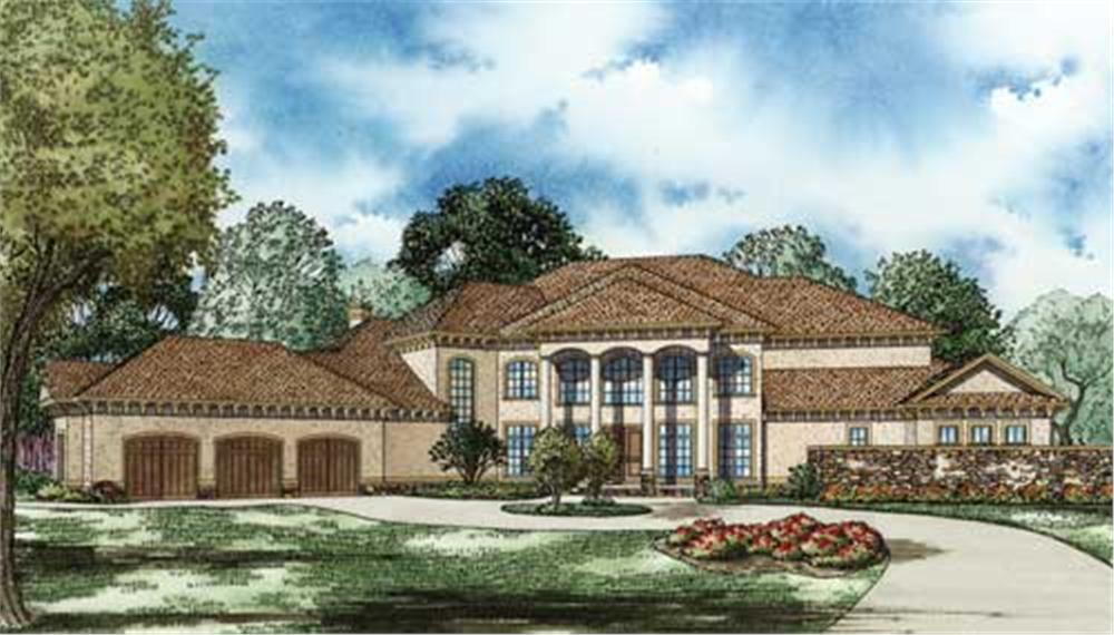 This image shows the Mediterranean style for this set of house plans, Luxury House Plans.