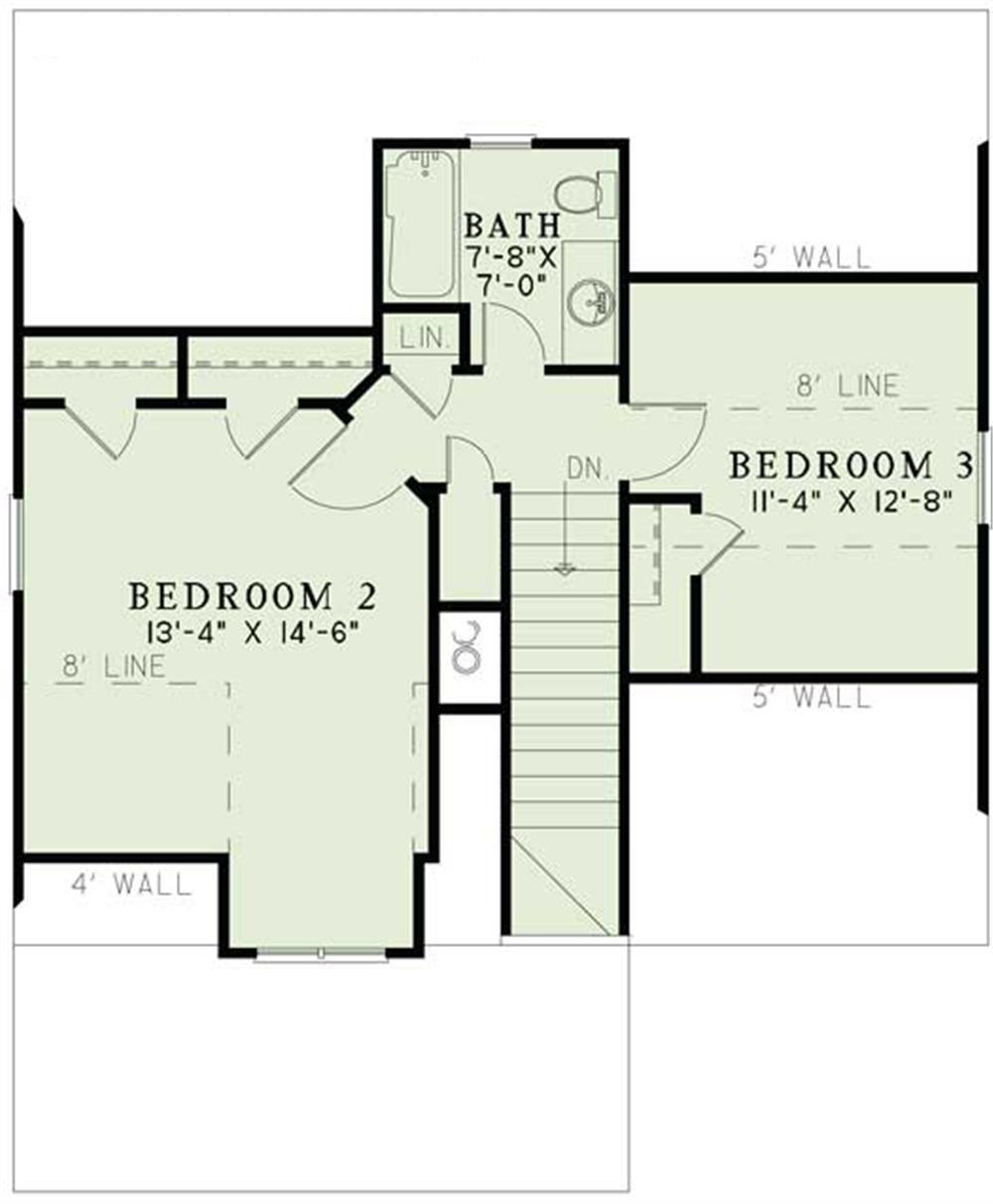 Craftsman home plan 3 bedrms 2 baths 1379 sq ft for Second story floor plan