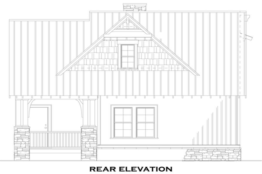 Home Plan Rear Elevation of this 3-Bedroom,1379 Sq Ft Plan -153-1147