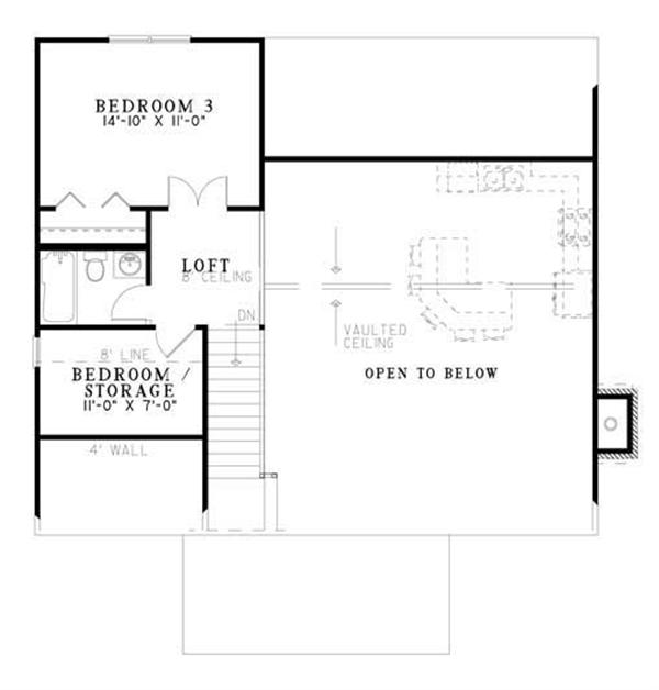 This image shows the Second Floor Plan for this set of Vacation Home Plans.