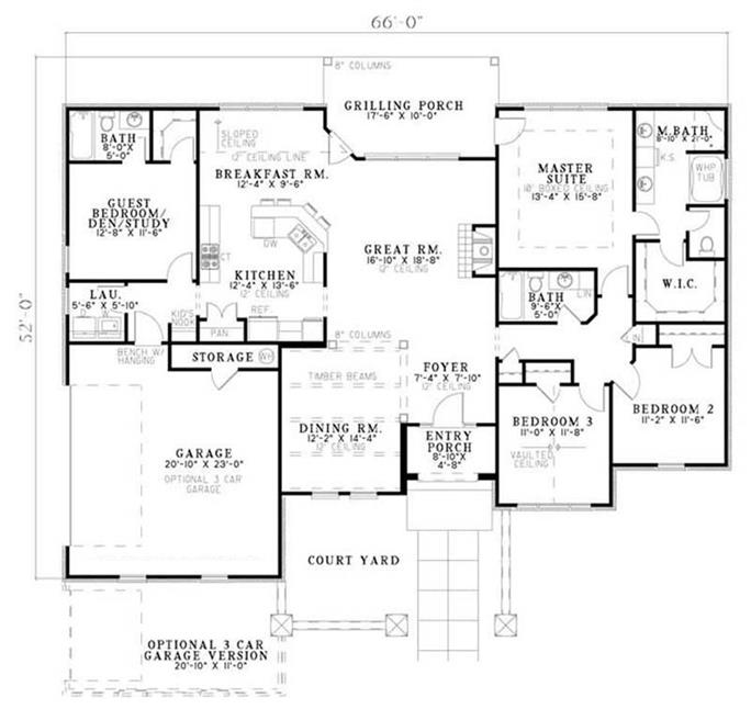house plan ndg 1145 main floor plan - Country House Floor Plans