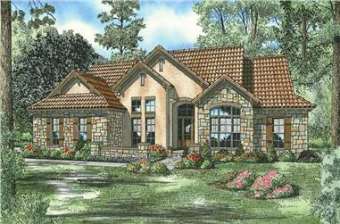 4-Bedroom, 2075 Sq Ft Country Tuscan House Plan - 153-1149 - Front Exterior