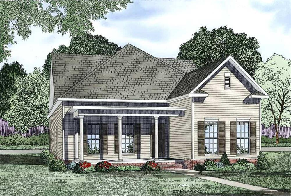 Front elevation of Bungalow home (ThePlanCollection: House Plan #153-1150)
