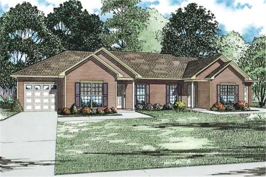 Home Plan Front Elevation of this 2-Bedroom,1012 Sq Ft Plan -153-1152