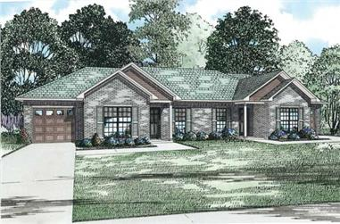 2-Bedroom, 1012 Sq Ft Multi-Unit Home Plan - 153-1152 - Main Exterior