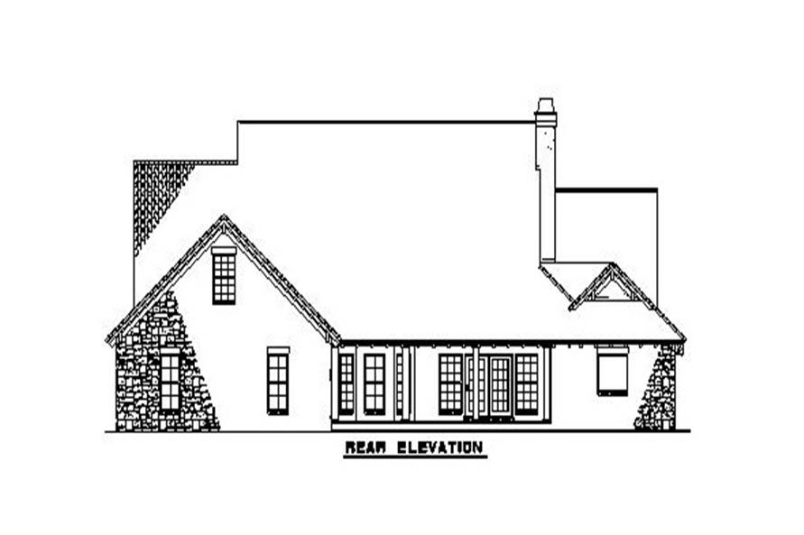 Home Plan Rear Elevation of this 4-Bedroom,2788 Sq Ft Plan -153-1153