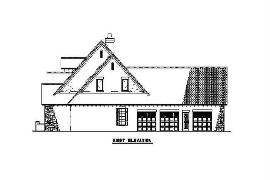 Home Plan Right Elevation of this 4-Bedroom,2788 Sq Ft Plan -153-1153