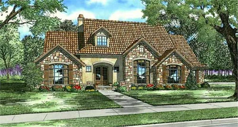Front elevation of Tuscan home (ThePlanCollection: House Plan #153-1153)