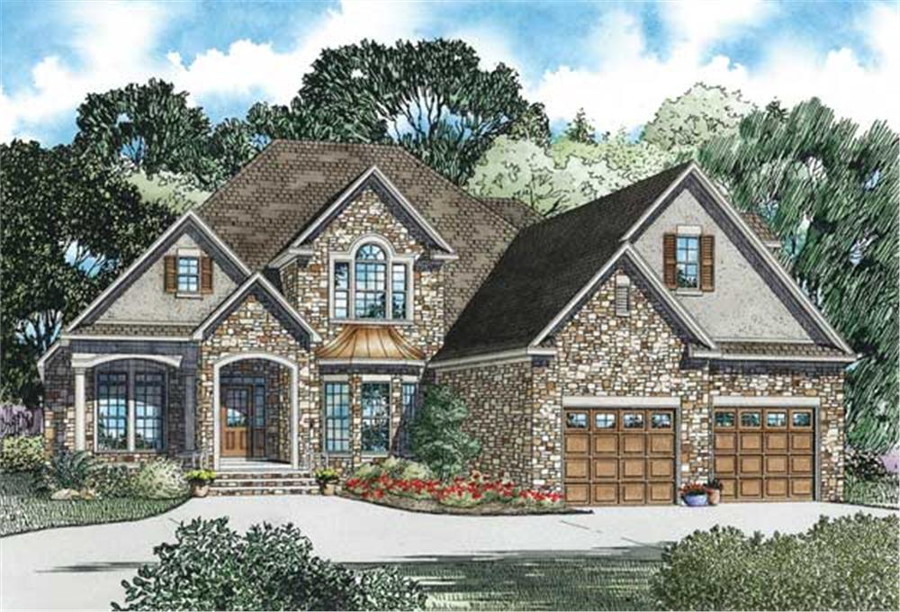 This is the front elevation for these Craftsman Home Plans.