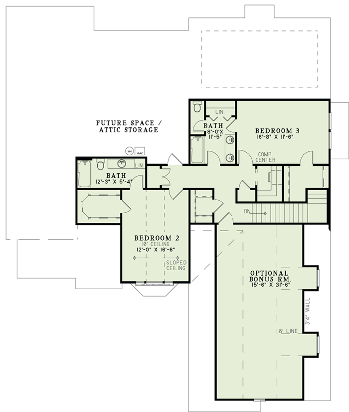 153-1156: Floor Plan Second Story