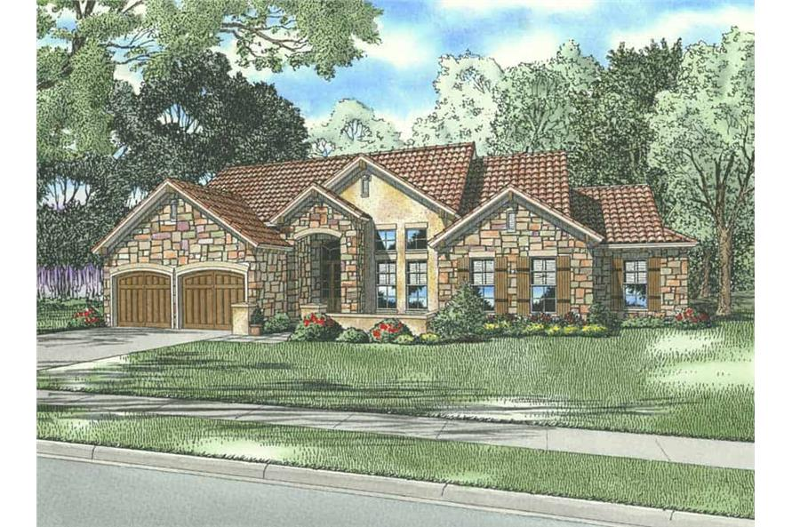 4-Bedroom, 2507 Sq Ft Country Tuscan Home Plan - 153-1160 - Main Exterior