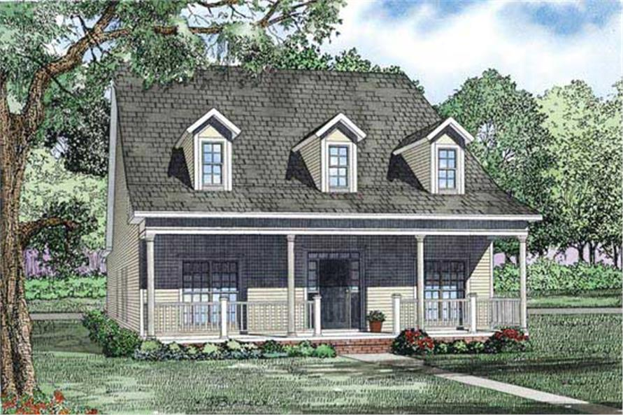 This is an artist's rendering of the front of these Country House Plans.