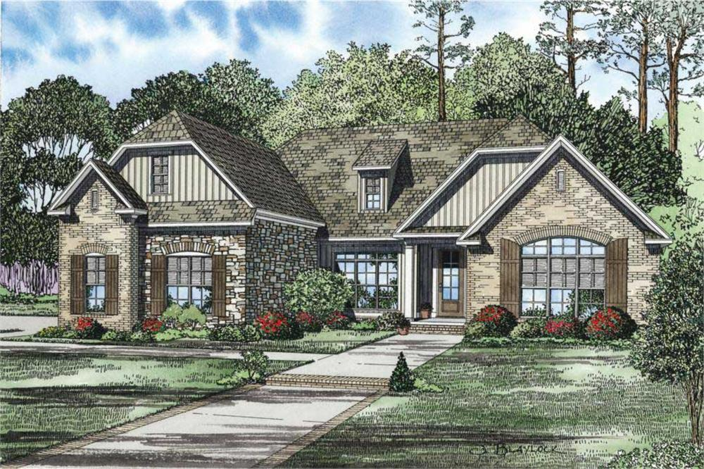 This is the front elevation of these French Country Home Plans.
