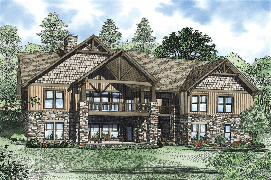 Home Plan Rear Elevation of this 7-Bedroom,4693 Sq Ft Plan -153-1166