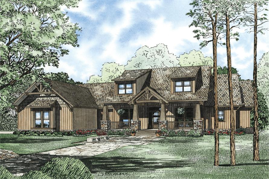 7-Bedroom, 4693 Sq Ft Craftsman Home Plan - 153-1166 - Main Exterior