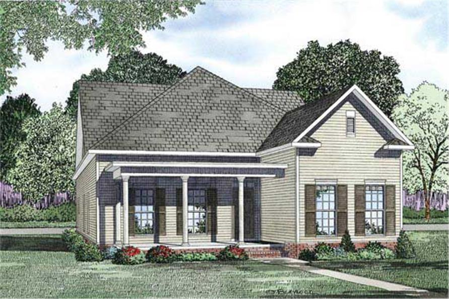 This is the front elevation for this set of Traditional House Plans.