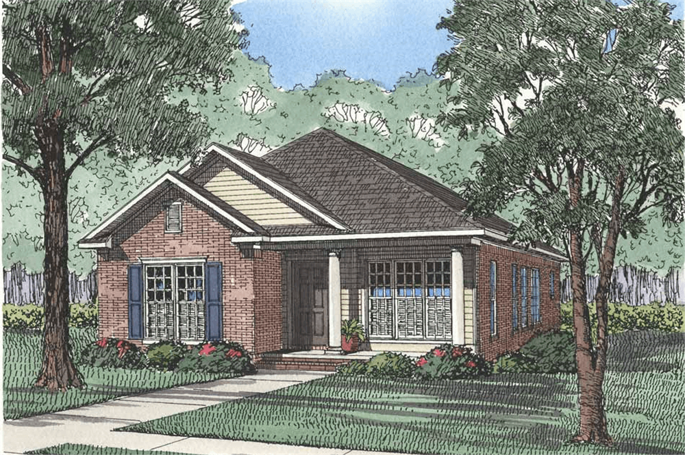 Front elevation of Country home (ThePlanCollection: House Plan #153-1170)