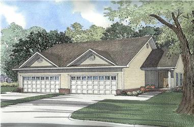 4-Bedroom, 1239 Sq Ft Multi-Unit Home Plan - 153-1173 - Main Exterior