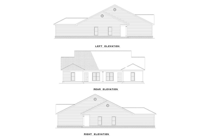 Home Plan Rear Elevation of this 4-Bedroom,1239 Sq Ft Plan -153-1173