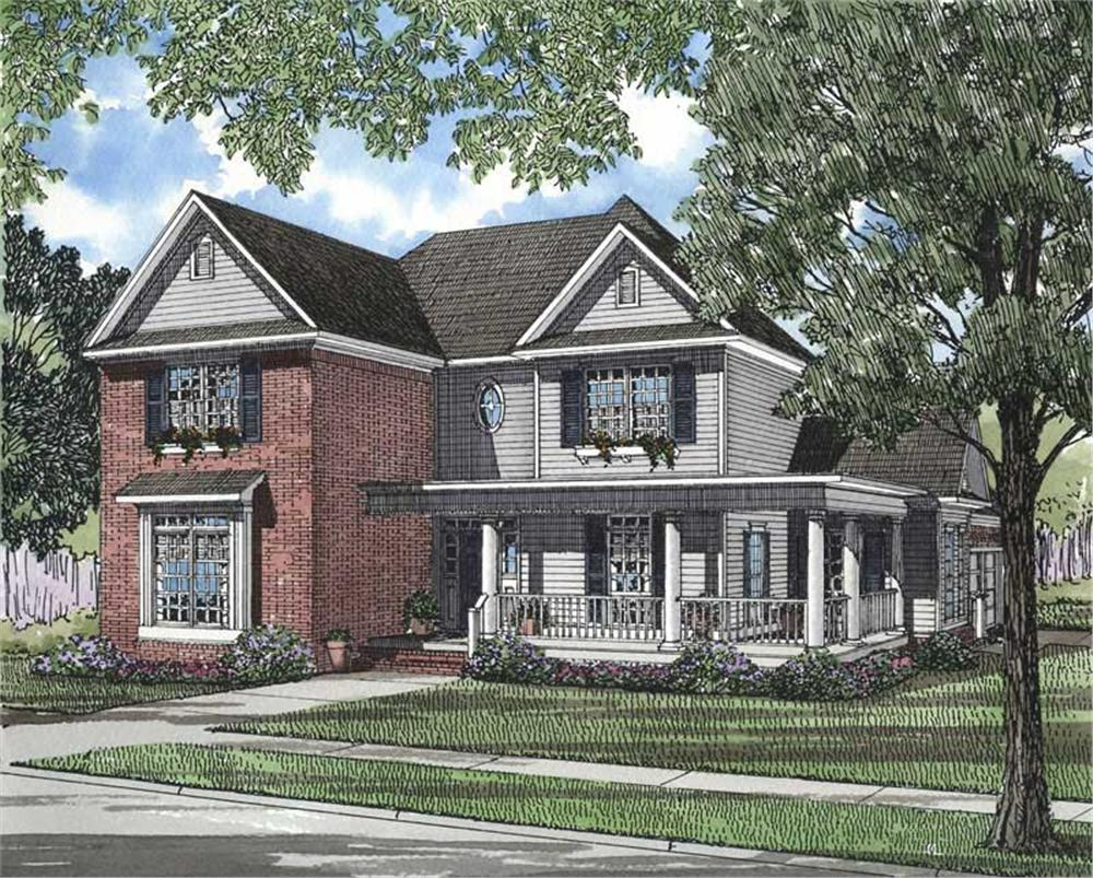 Front elevation of Southern home (ThePlanCollection: House Plan #153-1178)