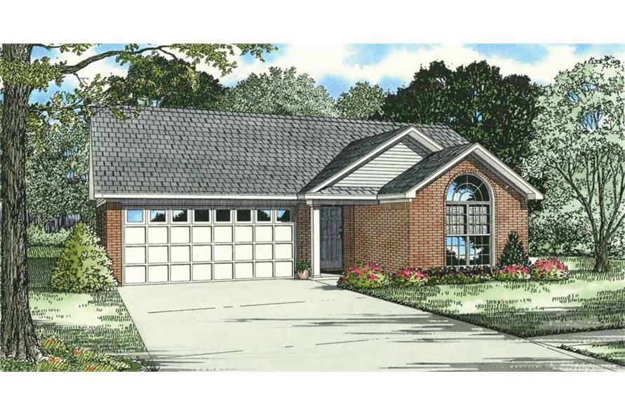 3-Bedroom, 1344 Sq Ft Small Ranch Plan - 153-1180 - Main Exterior