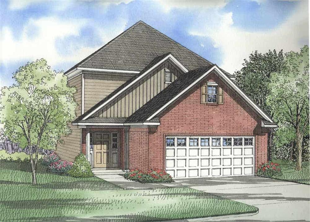 Color rendering of Contemporary home plan (ThePlanCollection: House Plan #153-1181)