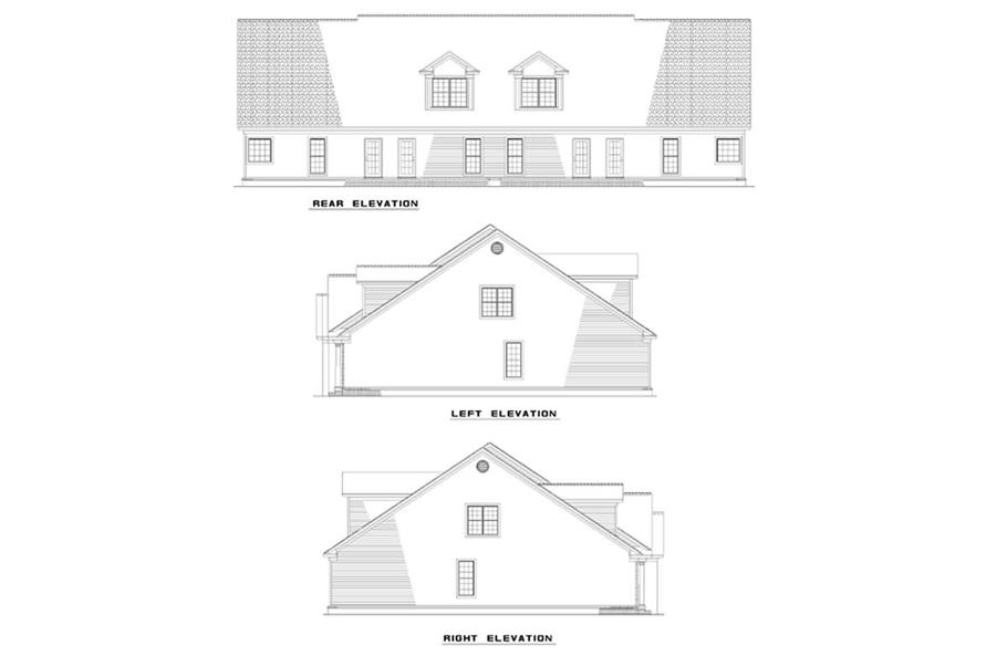 Home Plan Rear Elevation of this 6-Bedroom,2252 Sq Ft Plan -153-1182