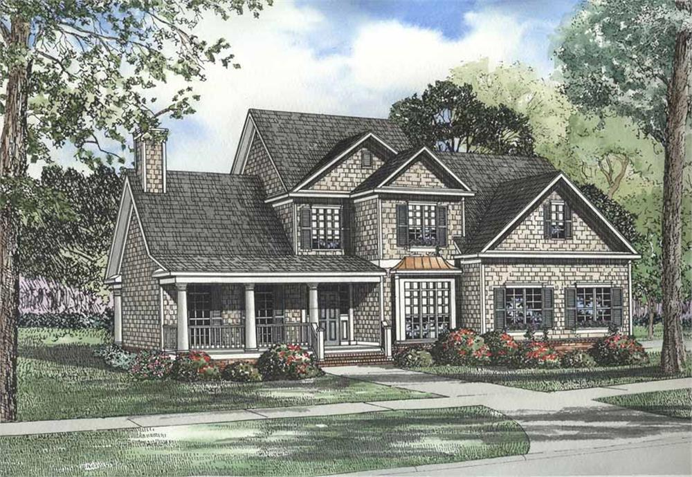 Front elevation of Luxury home (ThePlanCollection: House Plan #153-1185)