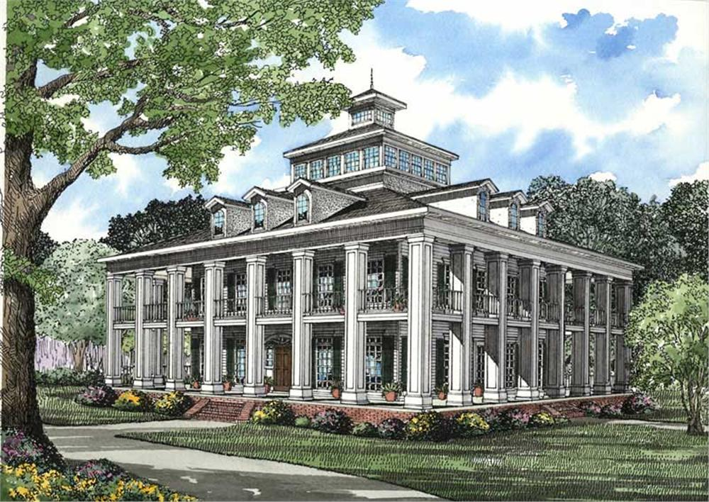 This image shows the elevation for this set of Southern Plantation House Plans.