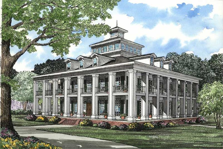 attractive southern traditional house plans #5: #153-1187 · This image shows the elevation for this set of Southern  Plantation House Plans.