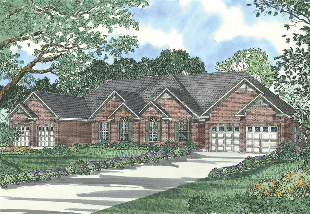 Front elevation of Multi-Unit home (ThePlanCollection: House Plan #153-1192)
