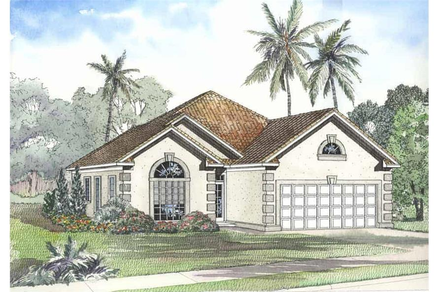 Front elevation of Coastal home (ThePlanCollection: House Plan #153-1194)