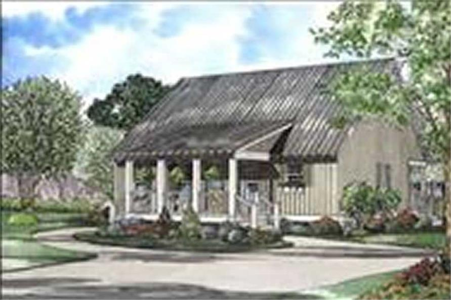 4-Bedroom, 1458 Sq Ft Log Cabin House Plan - 153-1196 - Front Exterior