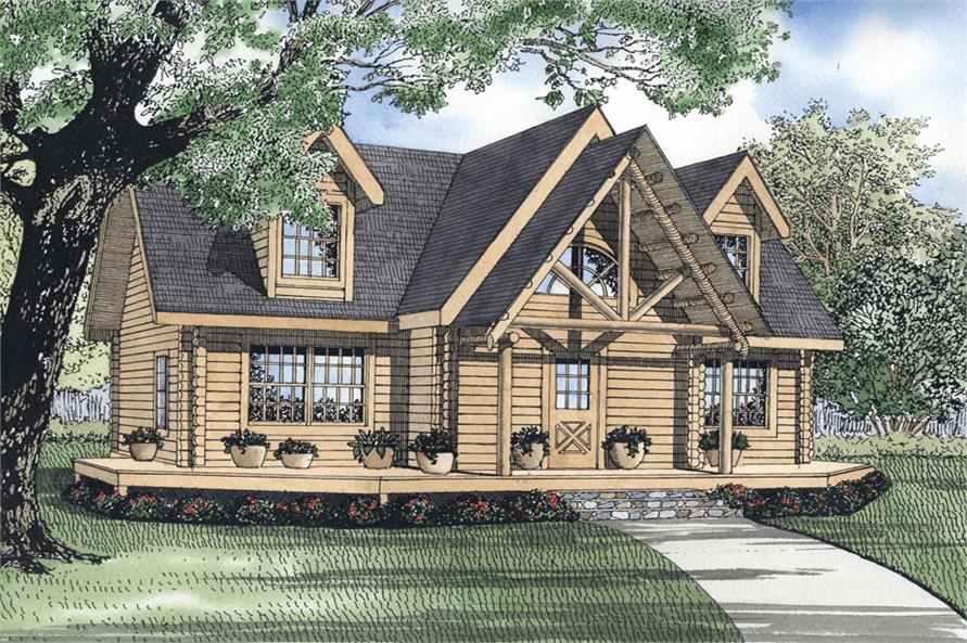 Front elevation of Log Cabin home (ThePlanCollection: House Plan #153-1197)