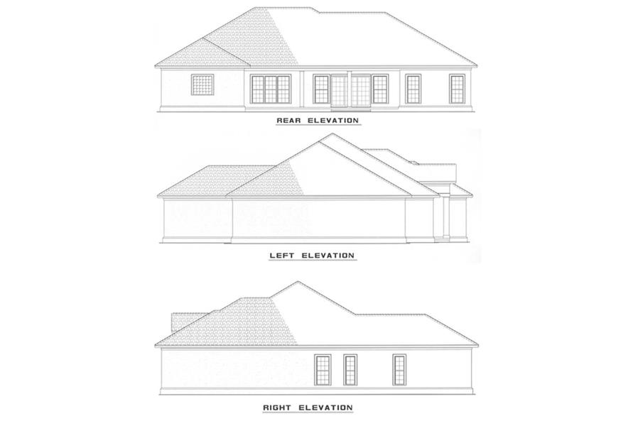 Home Plan Rear Elevation of this 4-Bedroom,2388 Sq Ft Plan -153-1198