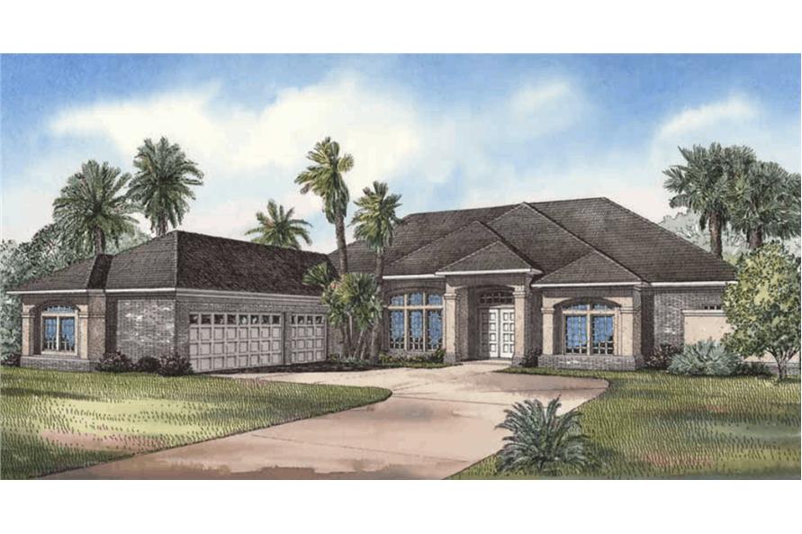 3-Bedroom, 3654 Sq Ft Luxury Home - Plan #153-1199 - Main Exterior