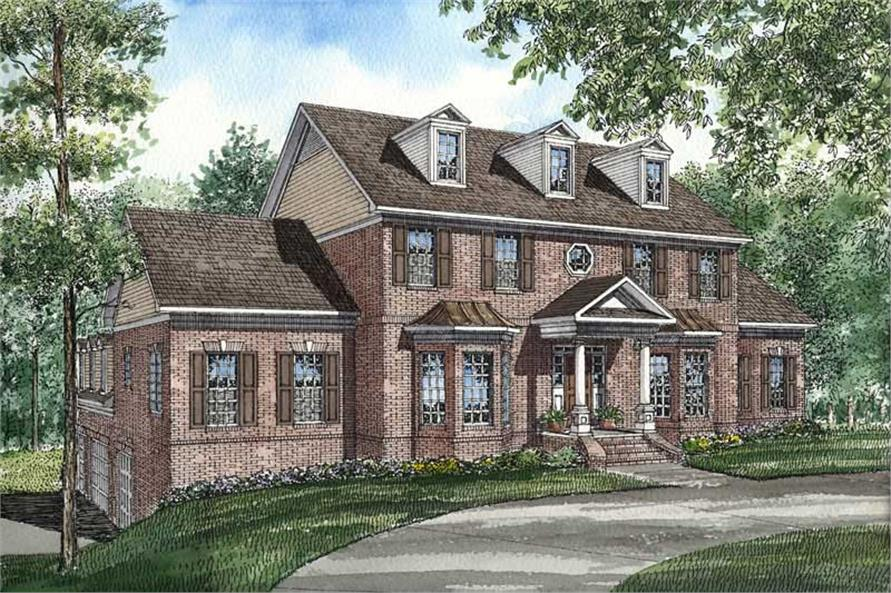 This image shows the front exterior for these Traditional House Plans.