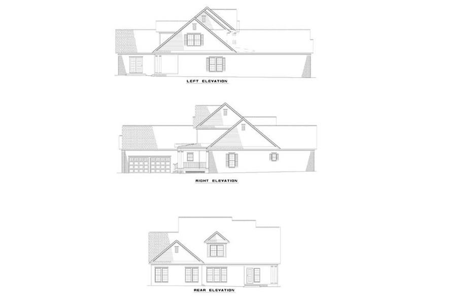 Home Plan Exterior Elevations of this 4-Bedroom,3206 Sq Ft Plan -153-1204