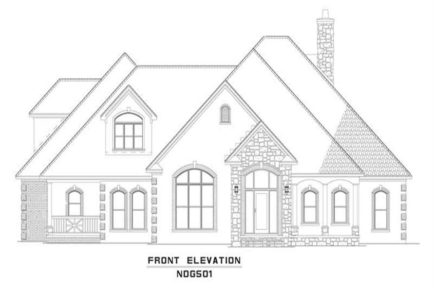 Home Plan Front Elevation of this 4-Bedroom,3969 Sq Ft Plan -153-1205