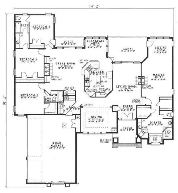 153-1209 house plan main level